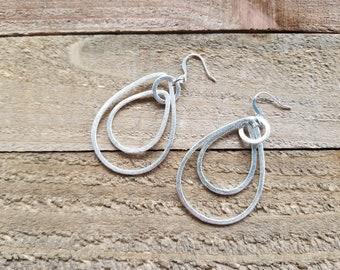 Brushed silver double teardrop earrings, brushed silver dangle earrings, classic earrings, everyday earrings, gift for mom