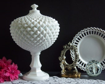 """Westmoreland Grandfather White Milk Glass Compote - Westmoreland Grandfather Sawtooth White Milk Glass Covered Compote - Very Large 14"""" Tall"""