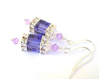 Tanzanite purple crystal earrings, Swarovski crystal cube earrings, pale purple with deep purple, bridal jewelry, wedding
