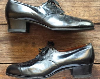 1930's Wilbur Coon Shoes all leather oxford pumps - Women's (1930's) size 12 B - black - as-new/never worn condition