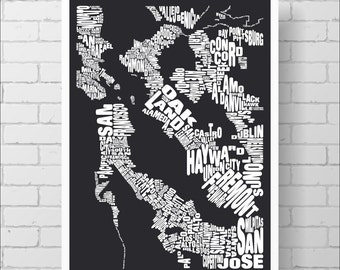 San Francisco Bay Map Print - 18x24 San Francisco Typography Map with Towns and Cities, Word Map Art Print Poster