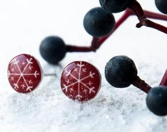 Christmas Earring, Christmas Ornament, Snowflake Jewelry, Christmas Gift, Tiny Stud Earring, Stud Earrings, Mens Earrings, Snowflake Earring