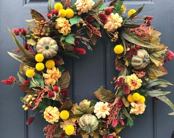 Fall Door Wreaths, Fall Door Decor, Pumpkin Wreaths, Fall Decorating, Pumpkin Decor, Housewarming Gift, Fall Door Wreath, Thanksgiving Decor