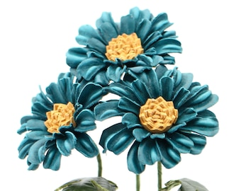 Leather Daisy Gerbera Teal Blue Leather Flower Third Wedding Anniversary Gift Long Stem Flower Leather Bouquet 3rd Leather Anniversary