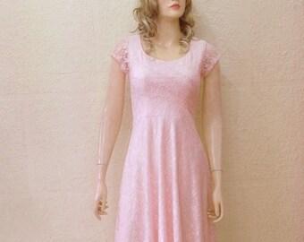 Blush Pink Lace Bridesmaid Dress. Dress With Sleeves. Blush Pink Evening Dress. Knee Length Dress.