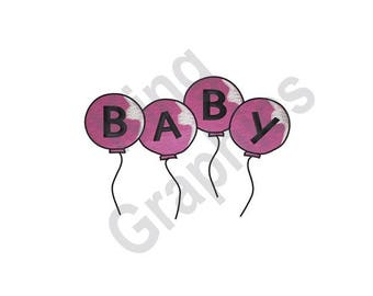 Baby Balloons - Machine Embroidery Design, Baby,Balloons