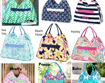 Monogram Beach Bags choose from 15 patterns Anchors / Striped / Seahorse / Paisley and more Makes a great BEACH BAG and Bridal Gift