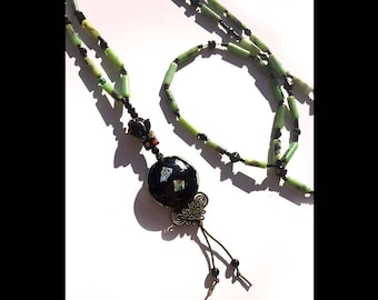 Midnight Sails: Amazonite, onyx, artisanal glass, knotted silk. Necklace and earring set.