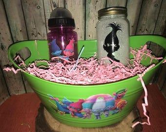 Trolls Gift Basket, Trolls Easter Basket, Custom Gift Basket, Trolls Gift Set, Personalized, Trolls, Nightlight, Trolls Water Bottle, Gift