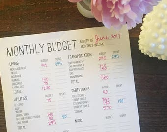 PRINTABLE: Monthly Budget worksheet download
