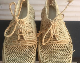 Rattan Woven Oxford Shoes Womens // Natural Rattan Lace Up Shoes Size 6 6.5