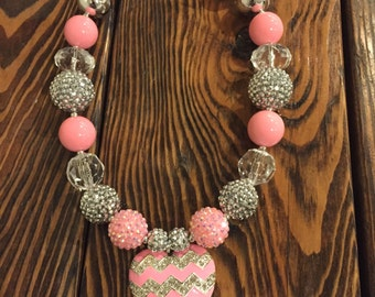 Pink, clear and silver chunky bead necklace, Chevron pink and silver heart rhinestone pendant. 18 inches long and ready to ship.