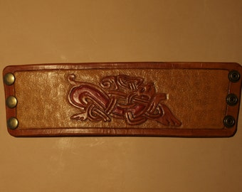 Leather viking bracelet in Jellinge Style
