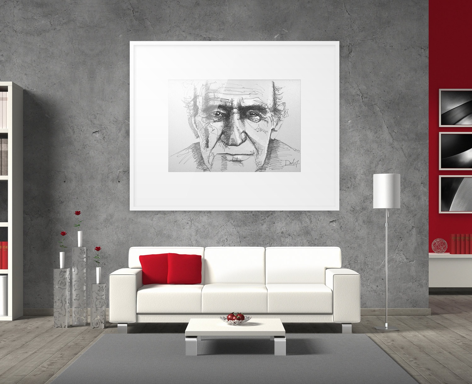 Line drawing portrait Old man sketch Modern art portrait