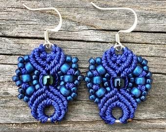 SALE Micro-Macrame Earrings - Royal Blue