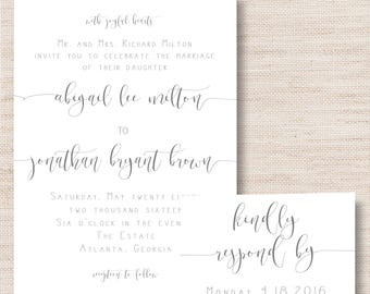 Grey Calligraphy Wedding Invitation  - PRINTABLE - Digital Files