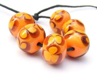 Handmade lampwork bead set of 6 orange flower beads