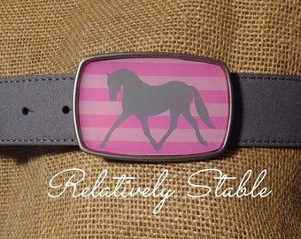 Equestrian belt buckle, buckle in pink and green stripe-fits snap belts IN STOCK