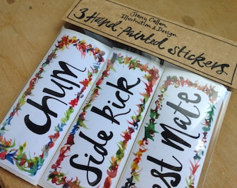 Pack of 3 original hand-painted stickers