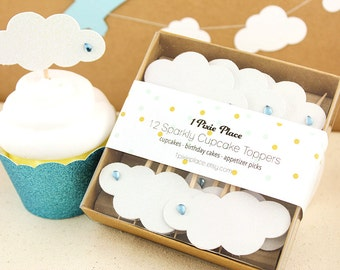 Glitter Rain Cloud Cupcake Toppers - Set of 12