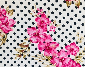 Floral Off white and Black Dots Double Brushed Poly Floral Print By The Yard 60'