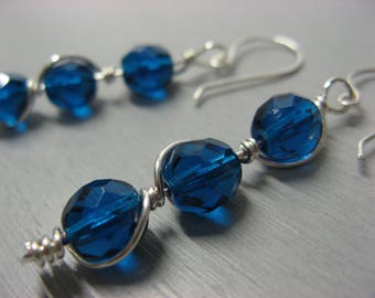 Stalactite earrings silver plated peacock blue