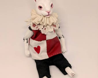 Art doll -The White Rabbit/  mixed media doll /OOAK