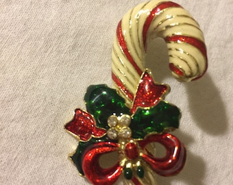 Christmas Candy Cane Enameled Pin with Rhinestones