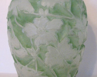 1920s Consolidated Dogwood Vase Glass Green Spring Easter