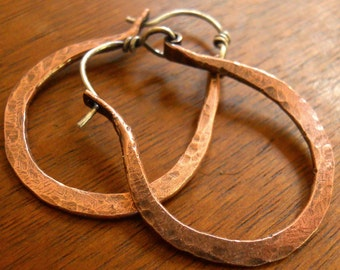Copper Hoop Earrings With Sterling Silver Ear Wire - Horseshoe Hoop Earrings - Rustic Jewelry - Hammered Copper Earrings - Oxidized Copper