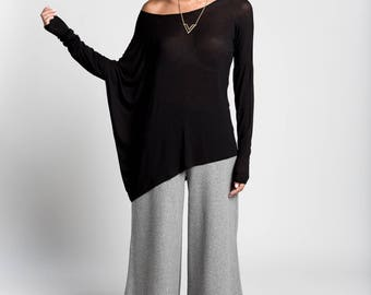 Drape Tunic / Off Shoulder Top / Casual Top / Loose Tunic / Asymmetric Blouse / Long Sleeve Top / Marcellamoda - MB0964