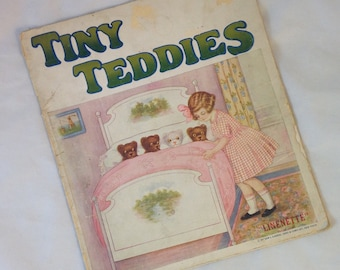 Antique Linen Book, Tiny Teddies, Linenette Book, Vintage Book About Teddy Bears