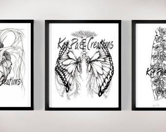 Set of 3 Wall Art Prints 8.5x11, Anatomy Illustrations Doctors Nurses Medical Students Butterfly Drawings, Gifts Unique Artwork, Science