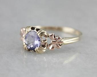 Purple Sapphire Solitaire, Rose Gold Sapphire, Engagement Ring, September Birthstone V23V6YJN-N