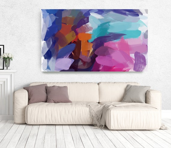 """The Color Movement 14, Abstract Painting Modern Wall Art Painting Canvas Art Print Art Modern Pink Red Blue Green up to 80"""" by Irena Orlov"""