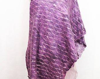 Pink Purple Shawl Geometric Pattern Felted Wool Shawl Nuno Felt Shawl