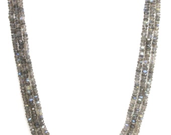 Necklace Labradorite Sterling Gemstones faceted Collectible India MB031AJ