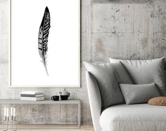 Phaesant Black grey Feather Art Print - feather  watercolor paintings -  wall art - feather decor - feather prints - feathers poster