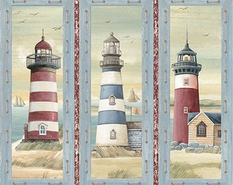 Lighthouse Fabric,  Nautical Fabric - Seaside by Quilting Treasures - 24652 - Priced by the Panel