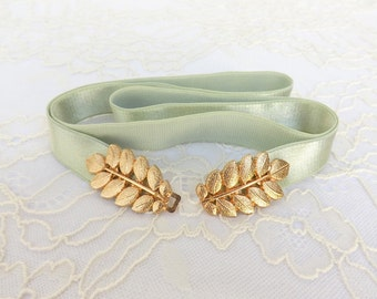Mint Green Elastic Waist Belt. Gold Leaf Buckle. Grecian Style Bridal/ Bridesmaid Wedding Belt.
