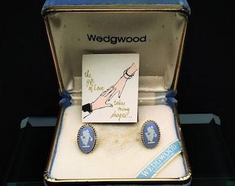 Pair of Vintage Wedgwood Jasperware & Sterling Silver Screw Back Earrings by Van Dell