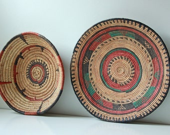 Pair of vintage woven African baskets, fruit trays or bohemian wall decor