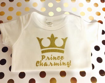 Prince Charming Baby bodysuit with snaps 3 to 6 months - Christmas Gift - New Baby Gift - Baby Shower Gift -
