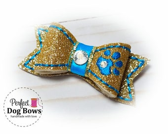 Gold Dog Bow, Dog Hair Bow with Rhinestone Dog Paw, Fancy Show Dog Bow, Small Dog Hair Bow with Paw, Dog Hair Accessory