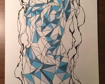 """Original Geometric Drawing-- """"Ocean"""""""