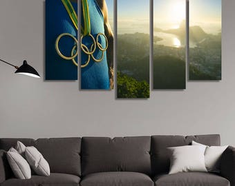 LARGE XL Canvas Print Athlete Olympic Rings Medal Canvas Rio De Janeiro Brazil Olympic Games Wall Art Print Home Decoration - Stretched