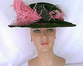 Titanic Era 1910's Vintage Black and Rose Pink Velvet Wide Brim Hat w/ Feathers and Jet Decor