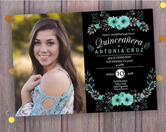 INVITATIONS for QUINCEANERA with PICTURES. Floral Quinceanera invitation, Quinceanera Teal Mint, Quinceanera Invites party, Digital