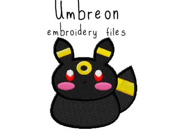 Pokemon Umbreon EMBROIDERY MACHINE FILES pattern design hus jef pes dst all formats Instant Download digital applique kawaii cute