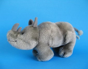 Vintage small Rhinoceros Stuffed Animal by R Dakin Kids Toy 1980s Toy Plush Toy Rhino Horns
